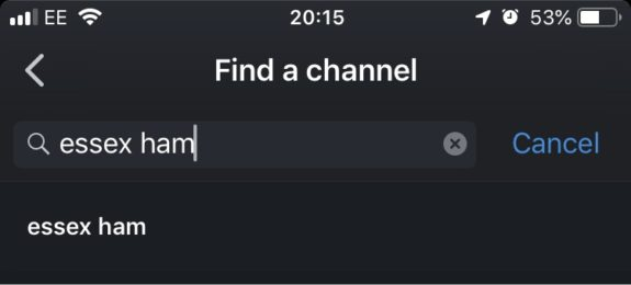 Finding the Essex Ham channel on Zello
