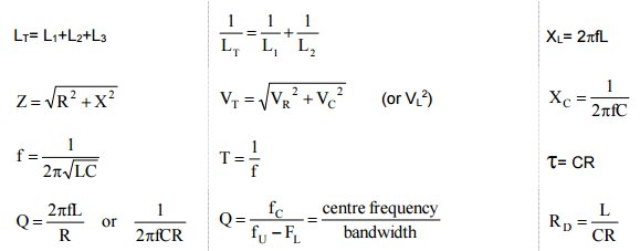 Extract from the Full exam formula handout