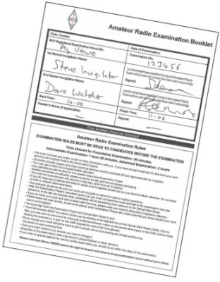 Example of Examination Booklet