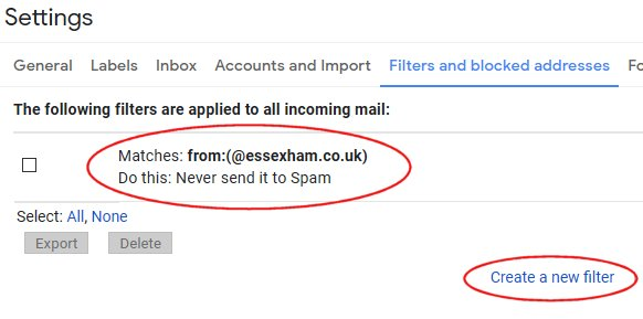 Setting up a Gmail filter