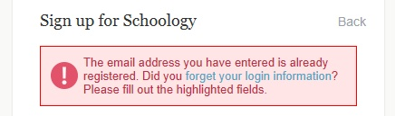 Schoology Register Error
